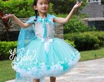 Frozen Tutu, Frozen Queen Elsa Tutu, Frozen Dress Elsa, Elsa Costume: Birthday princess tutu, frozen dress, elsa costume, ribbon edge tutu