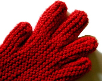 Hand Knit Gloves, Red Hand Knitted Gloves With Fingers, Free US Shipping