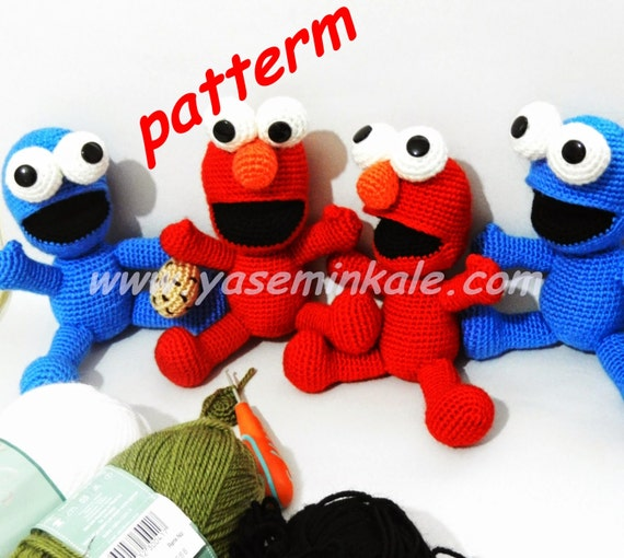 Amigurumi Cookie Monster Pattern : amigurumi cookie monster & elmo pattern by yaseminkale on Etsy