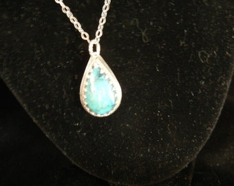 SLEEPING BEAUTY TURQUOISE pear shaped pendent 1 3/8 x 3/4 x 1/4 inch weight 5.5 grams