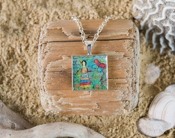 Silver Pendant Necklace - Mixed Media Art Print - Girl with Butterfly - Square silver setting