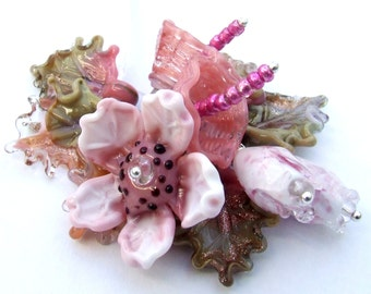 Lampwork Glass Flower Beads for Jewelry Making, Romantic and Delicate Pink Bouquet, Set of Flower beads, Made to Order