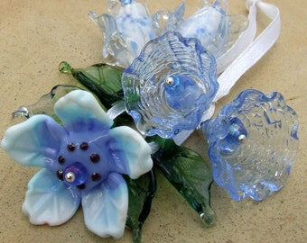Lampwork Glass Flower Beads for Jewelry Making, Romantic and Delicate Blue Bouquet, Set of Flower beads, Made to Order