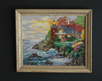 Vintage Lighthouse And Cottage By The Sea Paint By Number Framed Picture PBN