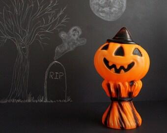 Vintage Halloween Blow Mold Jack-O-Lantern with Witches Hat on Corn Shock Light Up Illuminated Plastic Pumpkin Decoration