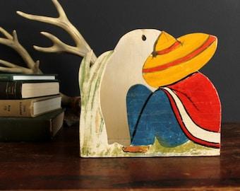 Vintage Mexican Siesta Man Wood Wall Shelf Pocket Southwest Folk Art