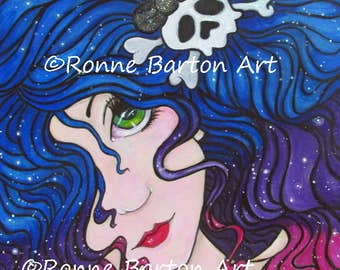 Gothic Glam big eye fairy original 10 x 10 acrylic painting ready to hang one of a kind OOAK