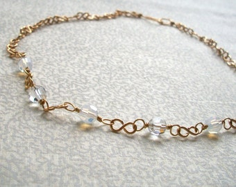 Susan - Clear & White Opal Golden Necklace, Ready to Ship