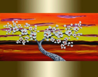 Oil painting white flower Blooming Tree landscape painting Acrylic painting Surreal Heavy Palette Knife