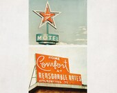 Motel Sign Photography, Set of 2 Prints,  Guestroom Wall Art, Vintage Neon Signs, Orange Retro Home Decor