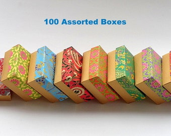 Packaging boxes-10% discount,100 assorted Indian print and Gold 3x3 x1.5 inch ,Jewelry Packaging Box, Wedding favor box, Bridesmaid Gift box