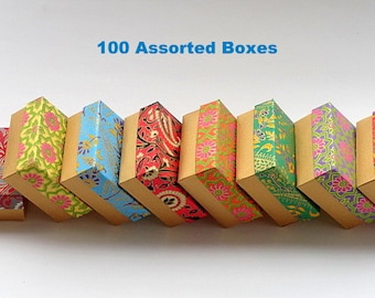 Packaging boxes 100 assorted Indian print and Gold 3x3 x1.5 inch ,Jewelry Packaging Box, Wedding favor box, Bridesmaid Gift box