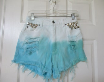denim cut off shorts Ombre dip dyed white cut off denim shorts size W 27 white High Waist destroyed grunge  studs FREE SHIPPING
