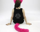 PAWSTAR Kitty Cat Ear Tail Costume Combo You PICK Color Headband Ears Pink Pastel Neon Green Purple Brown Tan White Red 4000