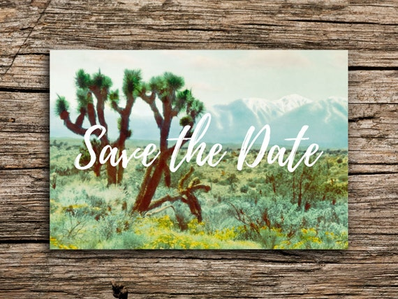Joshua tree postcard save the date festival save the dates for Joshua tree wedding invitations