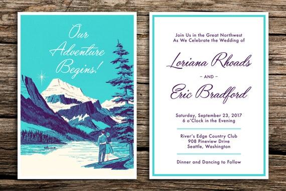 Wedding Invitations Portland Oregon: The Great Northwest Wedding Invitation Set // Retro Wedding
