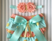 Baby girl 1st birthday bloomer set-coral aqua gold baby outfit-birthday bloomers-cake smash outfit-1st birthday bloomer set-mint aqua gold
