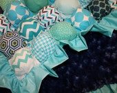 Bubble Blanket - Biscuit Quilt - Blue Green Aqua Baby Blanket with Blue Ruffle and Navy Backing - Ready to Ship