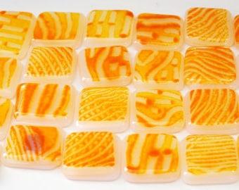 24 Handmade Glass Tiles Orange and White Striped Fused Tiles Mosaic