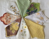 Eight Vintage Hankies in Soft Yellow and Green Tones