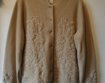 Vintage Talbots Beige Wool With Embroidery Sweater Jacket Size Medium From the 1990s