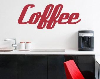 Retro Coffee Wall Decal-Coffee Lover Art, Coffee Decal, Kitchen Wall Sticker, Coffee Drinker Gift, Coffee Addiction, Coffee Wall Decor