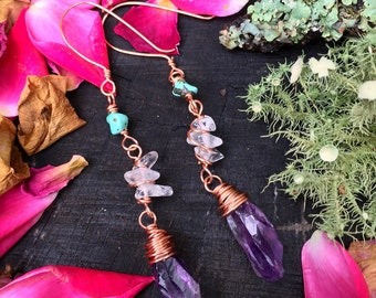 Amethyst + quartz crystal abs genuine turquoise - Copper wire wrapped handmade earrings