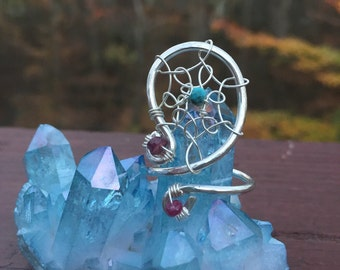 STERLING Adjustable Dreamcatcher Ring - Wire wrapped & crocheted statement ring - Any gemstone