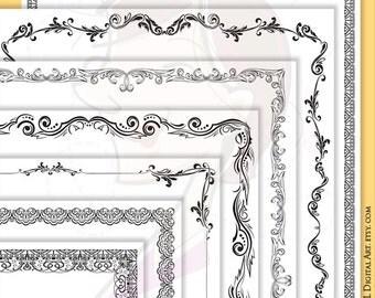 Decorative Page Borders Clipart 8 x 11 Nostalgia Antique Leaf Digital Floral Frames Vintage Awards Diploma Certificate Frame VECTOR 10214