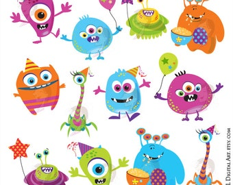 Monster Clipart Cute Digital Little Monster Birthday Party Silly Funny VECTOR Clip Art Scrapbook Diy Invitation Cards INSTANT DOWNLOAD 10103