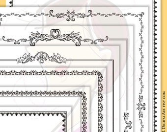 Retro Page Border Frames Black Frames Clip Art Clipart Scrapbook Supplies 8x11 Rococo Rectangle Decorative Border Digital Borders 10366