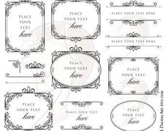 Digital Frames Ornate Clip Art Wedding Clipart Scrapbook Craft Supply Text Dividers Border Corners Design Elements Instant Download 10486