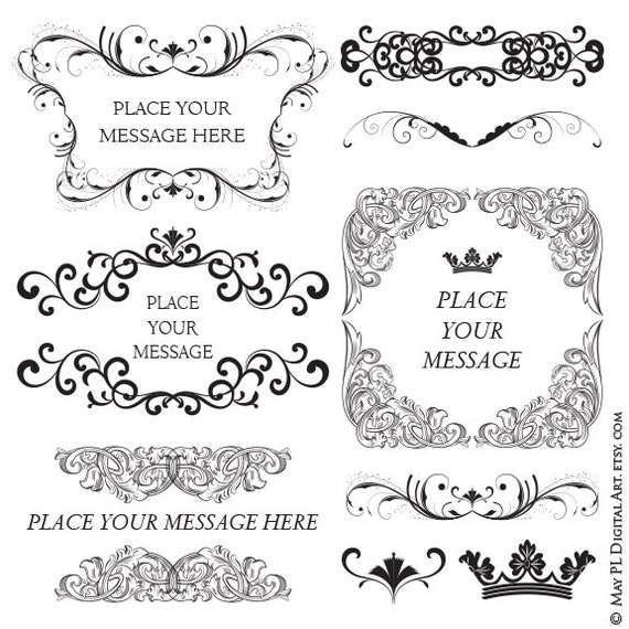 Popular digital frames classic baroque style variety pack of popular digital frames classic baroque style variety pack of swirl and flourish vector clipart for diy invitation business branding 10145 from stopboris Choice Image