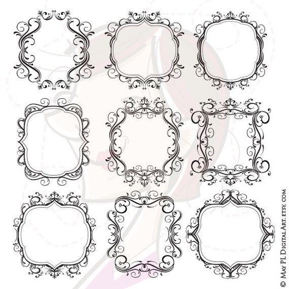 Digital Flourish Frames Wedding VECTOR Clipart Ornate Design Swirls Border Save The Date Retro Curly COMMERCIAL USE Business Graphics 10100
