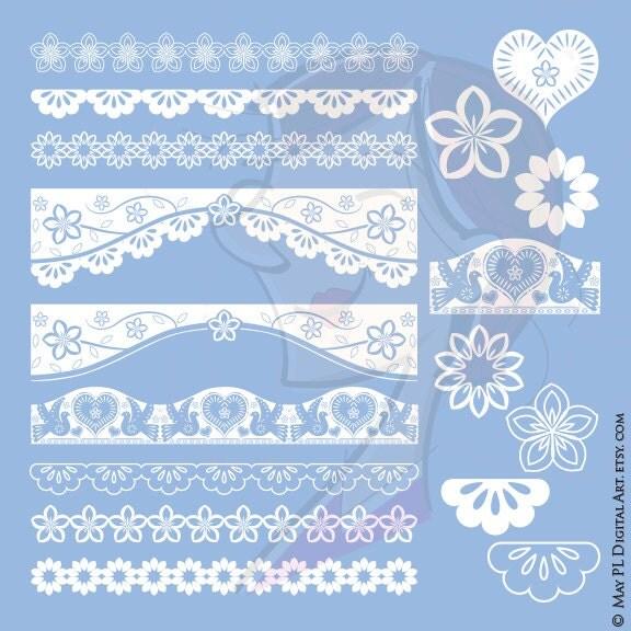 papel picado borders vector clip art white birds flowers