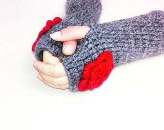 Winter Gloves, Crochet Gloves, Wool Grey Gloves, Women Gloves, Mittens, Fingerless, Valentine's Dy Gifts, For Her Gifts