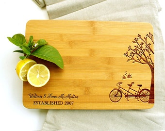 Personalised Cutting Board   Bicycle, Tree & Lovebirds   Wedding or Engagement Gift