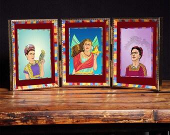 OOAK 3 Frida Prints, Hand-painted Frame Art Altarpiece Mexican Folk Art Famous Woman Artist Tableau