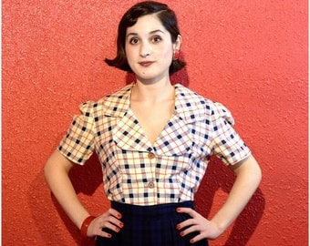 1940s Plaid Blouse Puffed Sleeves Cotton Medium