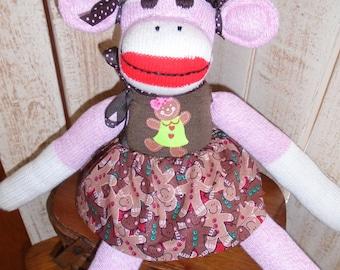 Gingerbread Girl Pink Red Heel Sock Monkey Doll