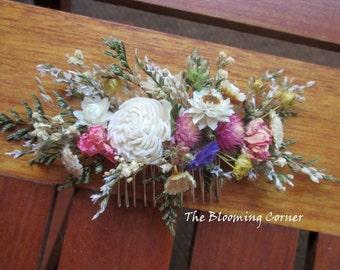 Bridal Hair combs, Hair comb, flower hair comb, hair clip, dried flower comb, Wedding Hair Accessories, Flower hair Pin, hair piece,