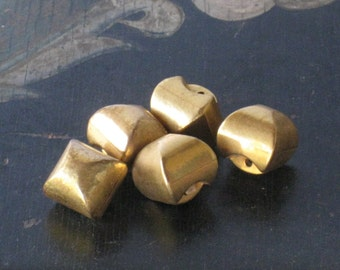 Fun Set of 5 Chunky Vintage Gold Tone Buttons - Plastic - Shanked - Sewing Crafting Supplies, Retro 1960s