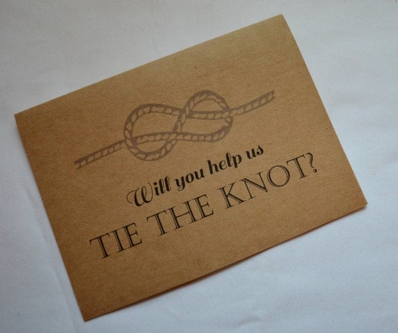 Will you be our USHER Card will you help us tie the KNOT Bridesmaid Card ring bearer Proposal CARD groomsmen best man wedding party invites