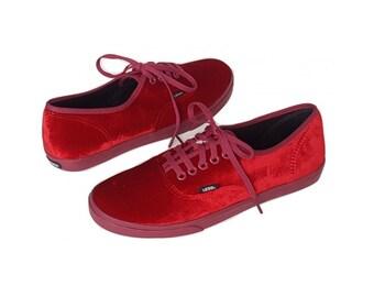 Unworn VANS Red Velvet Sneakers • Velvet Shoes • Unisex Size Womens 9 Mens 7.5