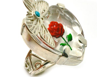Love Ring, Heart, Butterfly Ring, Flower Ring, Rose Ring, 925 Sterling Silver Ring, Fused Glass Ring, Turquoise Ring, Size 7.5