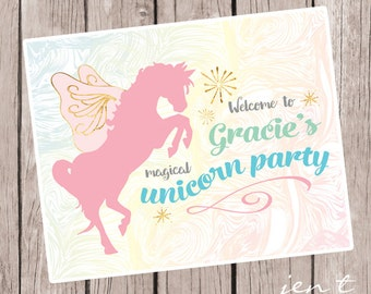 Personalized Unicorn Party Sign