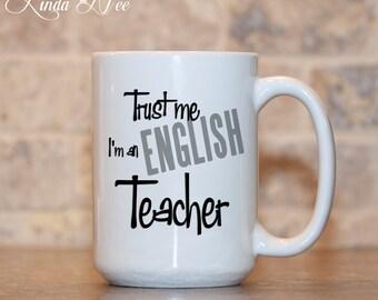 ENGLISH Teacher Mug Teacher Appreciation Mug Teacher Coffee Mug Funny Teacher Gift Funny Teacher Mug Gift for English Teacher Ceramic MSA19