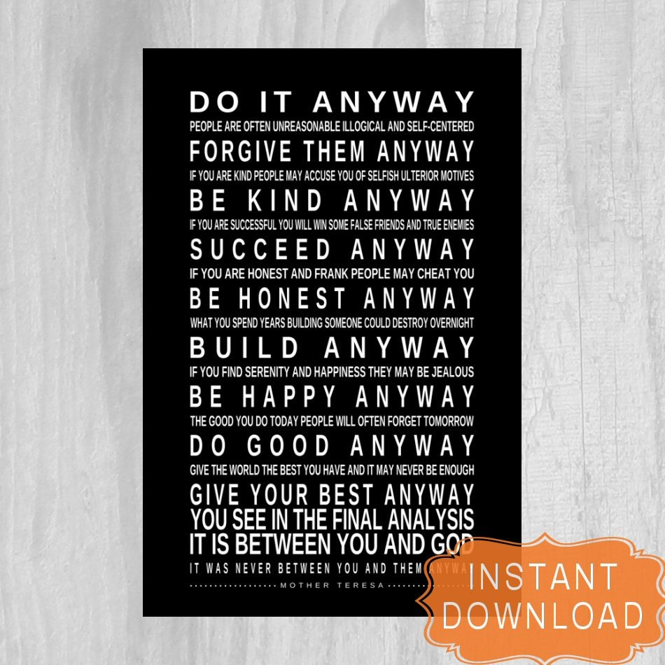 Mother Teresa Marriage Quotes: DO IT ANYWAY Printable Mother Teresa Quote Digital File