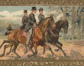 Social Equitation - Antique 1900s Equestrians and Horses Unisgned Art Postcard
