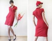 DIANE VON FURSTENBERG Red wool silk short cap sleeve fitted shift dress